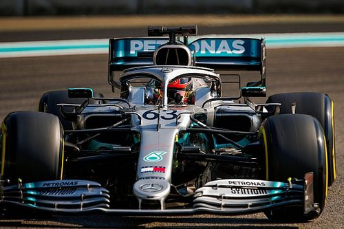 Russell tops F1 test for Mercedes, Leclerc crashes