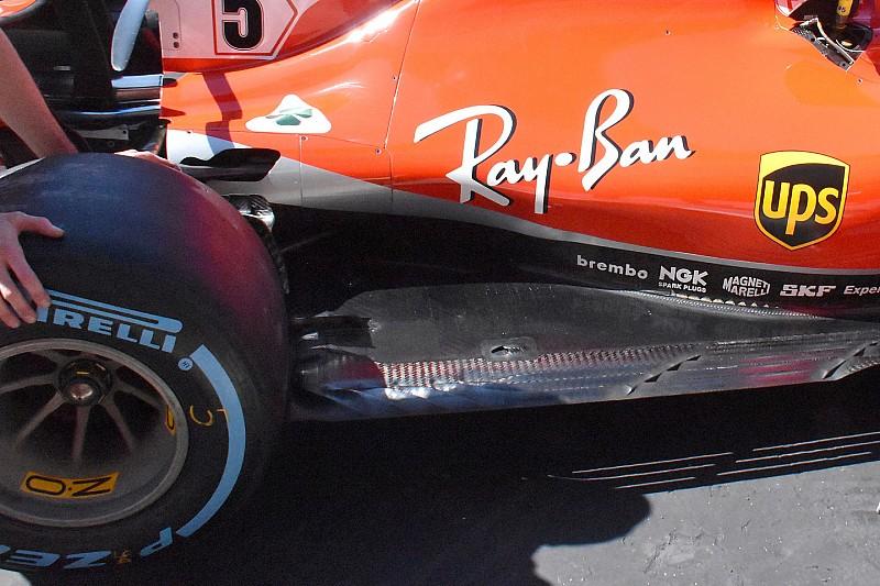 """Ferrari: il fondo piatto della SF71H adesso ha tre """"rotaie"""" nel bordo d'entrata"""