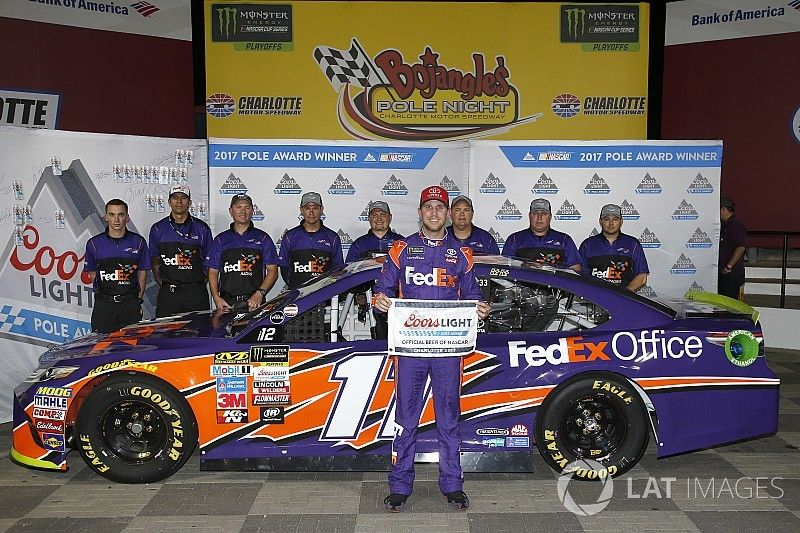 Denny Hamlin heads all-JGR front row in Charlotte qualifying