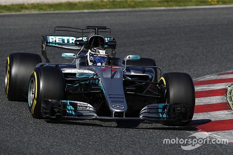 Barcelona F1 test: Mercedes heads Ferrari, Stroll shunts
