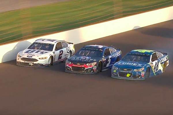 Johnson wrecks out of Brickyard 400 in three-wide battle for the win