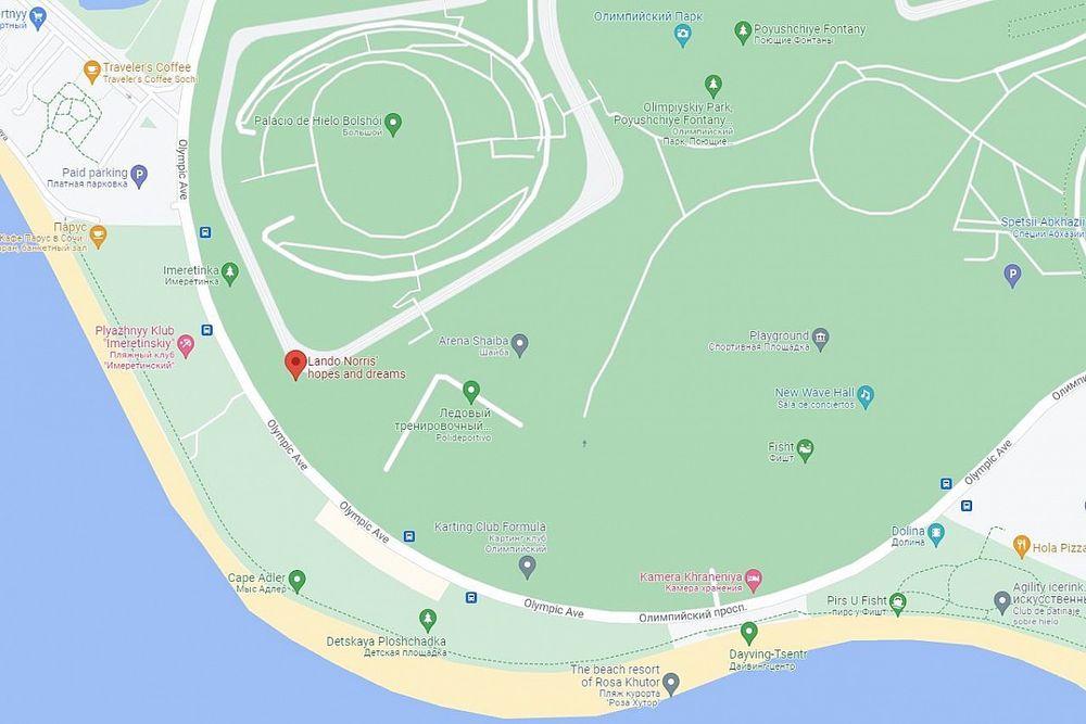 Google recuerda el accidente de Norris en Rusia con un cambio en mapa