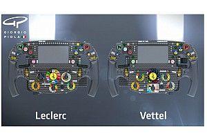 Veja as diferenças entre os volantes de Vettel e Leclerc na Ferrari