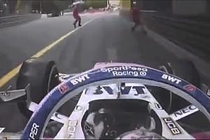 VIDEO: Pérez estuvo a punto de atropellar a un oficial de pista