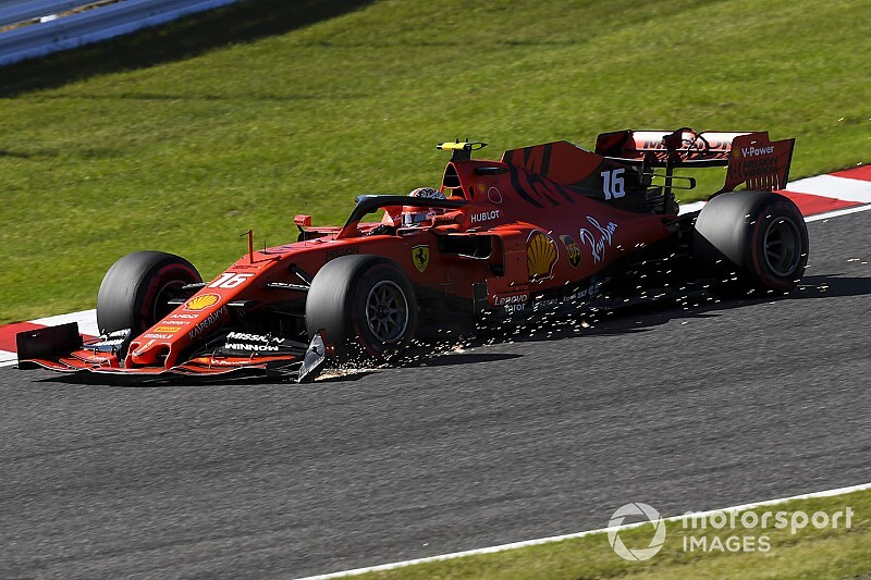 Leclerc gets double penalty for clash, late stop