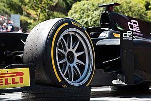 Tesztelés közben a Pirelli 18 colos kereke az F2-ből