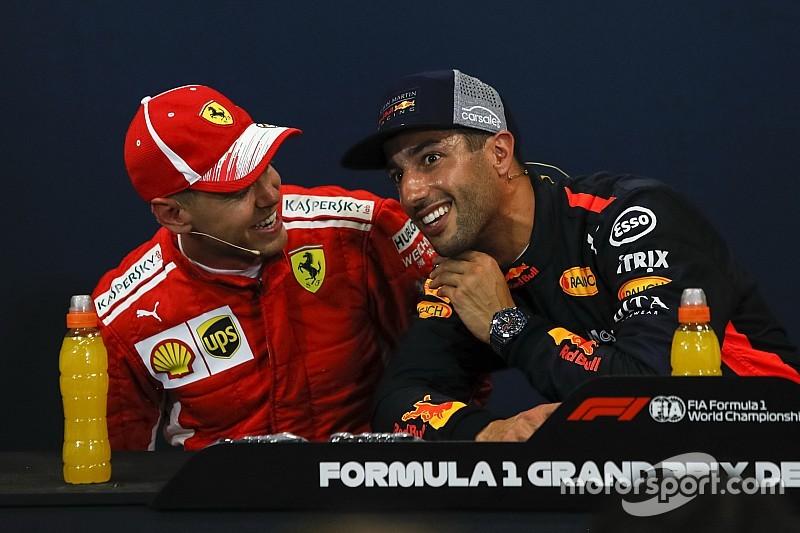 """Daniel Ricciardo scherzt: """"Dachte noch nie, dass Vettel gut ist!"""""""