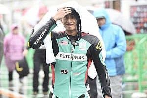 Syahrin aan kop bij ingekorte natte warm-up GP Japan