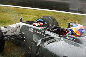 Kwalificatie stilgelegd na crash Grosjean op drijfnat Monza