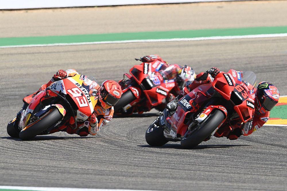 Aragon MotoGP: Bagnaia claims maiden win after fending off Marquez in thriller
