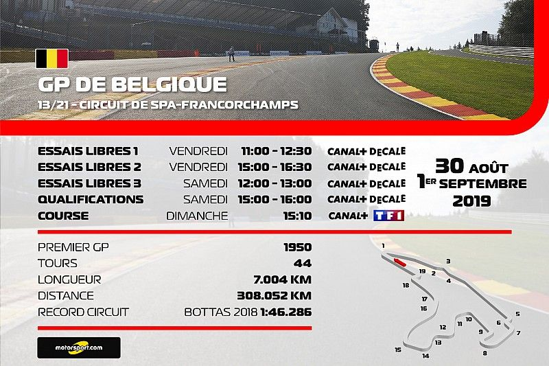 Le programme TV du Grand Prix de Belgique, en clair sur TF1