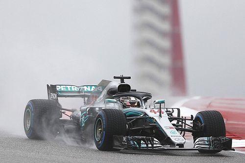 GP USA: Hamilton o 1,3 z przodu w deszczowym pierwszym treningu