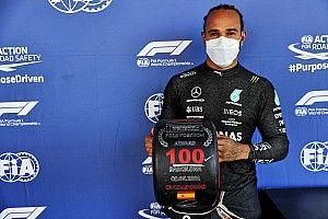 Hamilton llega a las 100 poles en España y Pérez saldrá 8° tras un trompo