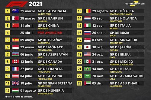 Fórmula 1 aprueba el calendario definitivo 2021 con 23 carreras