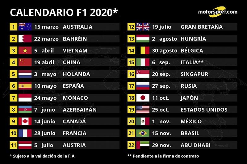 La F1 presenta un calendario récord para 2020