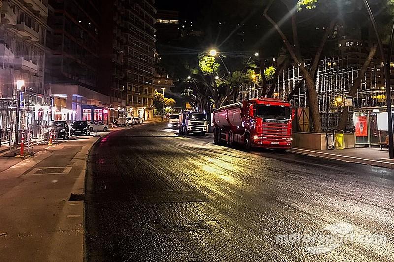 На трассе в Монако укладывают новый асфальт: фото и видео