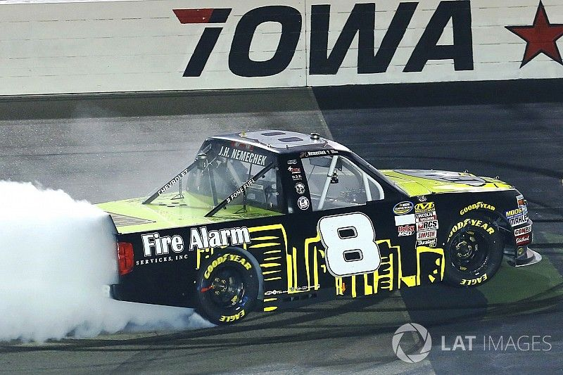 Nemechek takes Iowa victory with three-wide pass for the win