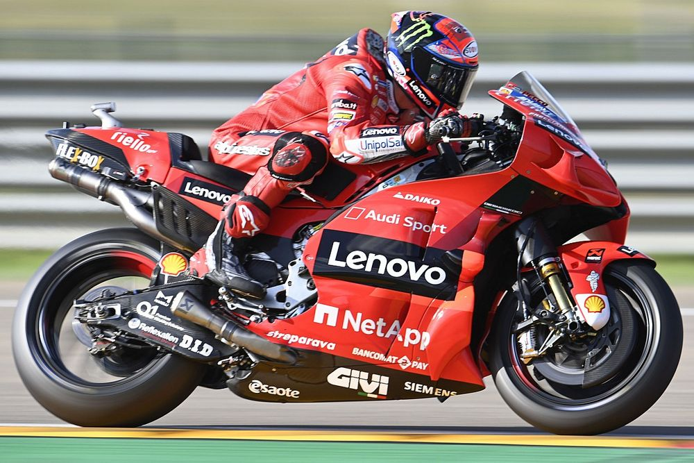 MotoGP, Aragon: Bagnaia si conferma nel Warm-Up