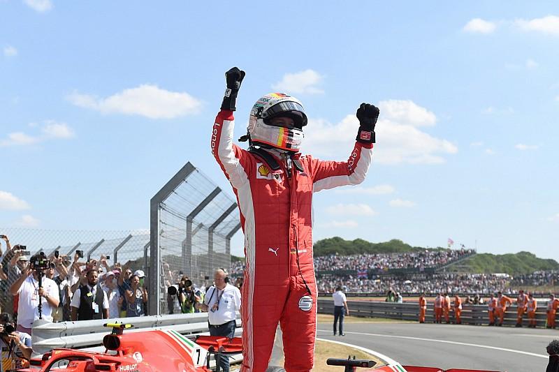 """Vettel: """"Una vittoria speciale. portiamo la bandiera inglese a Maranello! Il sorpasso su Bottas? Ero al limite!"""""""