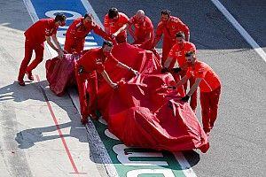 El coche Ferrari, con una decoración especial 'retro' en Mugello