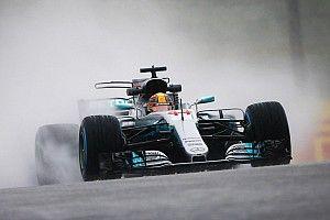 日本GP:FP2は雨に見舞われ、タイム計測わずか5台。ハミルトン首位