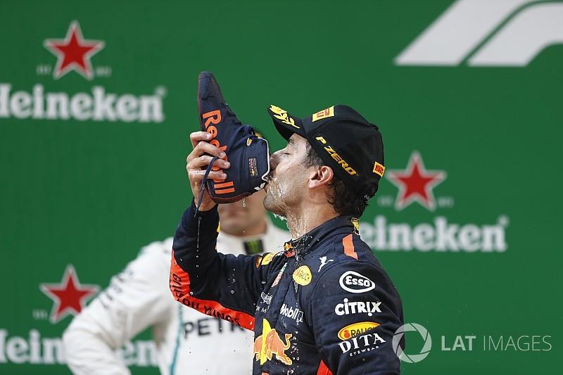 La Fórmula 1 registra el festejo de Ricciardo como marca comercial