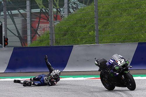 VÍDEO: Viñales fica sem freio na Yamaha e se joga no chão para evitar acidente durante GP da Estíria da MotoGP