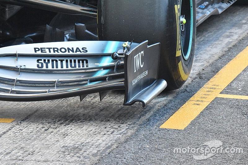 Mercedes test aangepaste voorvleugel op openingsdag tweede testweek