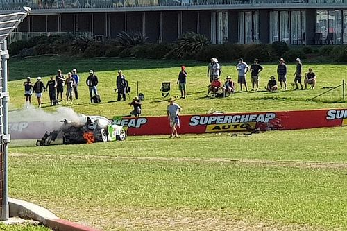 Spectator pictured fighting Bathurst 12 Hour crash fire