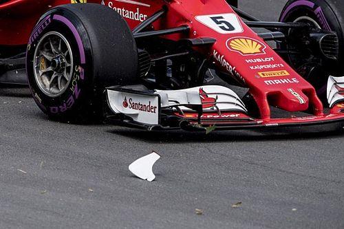 Ferrari: sull'ala di Vettel si è rotto il ricciolo del profilo principale!