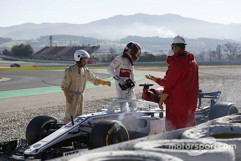 "Kecelakaan ""bodoh"" saat tes, Leclerc marah"