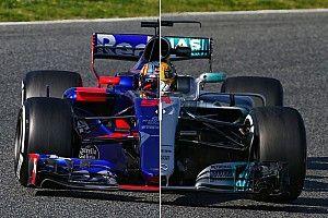 Komparasi dua mobil F1 2017 di trek: Toro Rosso STR12 vs Mercedes W08