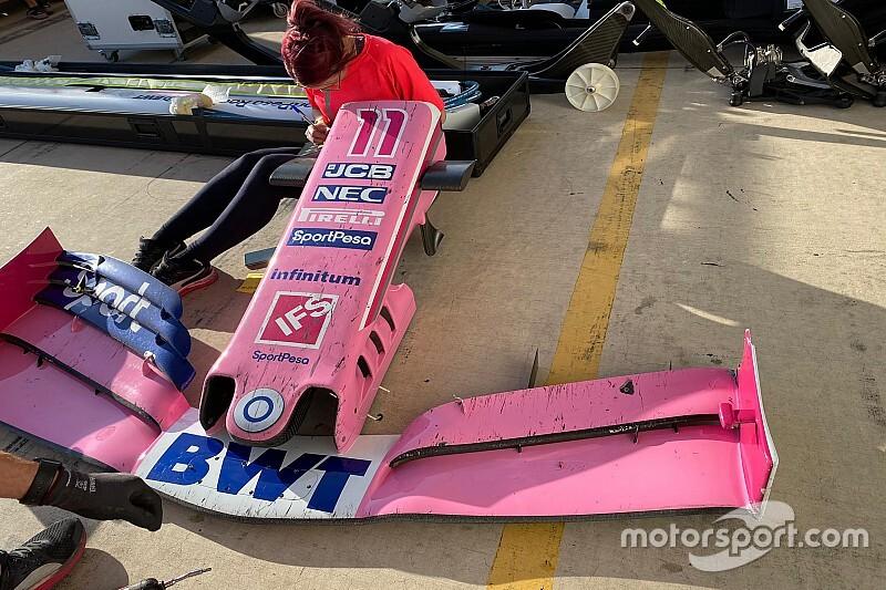 Así quedó el alerón de Pérez tras el choque con Kvyat