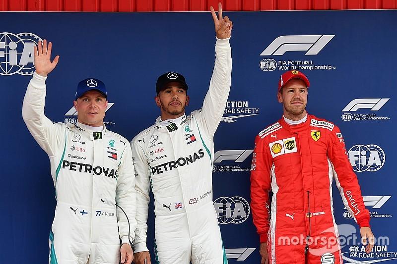 Mercedes één en twee in kwalificatie Spanje, Verstappen op P5