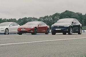 Tesla'nın tüm modelleri drag yarışında karşı karşıya