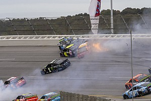 Big wreck ends Stage 2 at Talladega with Bowyer out front