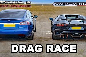 Legújabb teljesítményfokozó frissítésével áll ki a Tesla Model S a Lamborghini Aventador ellen
