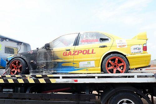 Insiden terbakarnya mobil balap M Fadli