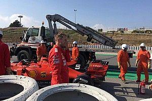 Vettel 'estaciona' Ferrari e interrompe teste da F1; veja fotos