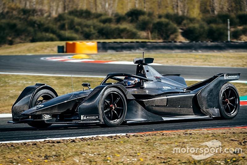 Mercedes Formula E car makes track debut