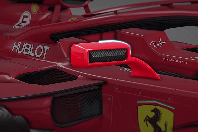 Animáción a Ferrari Halóra szerelt visszapillantói a Forma-1-ből