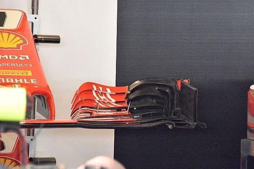Ferrari test 2019-spec voorvleugel in Abu Dhabi