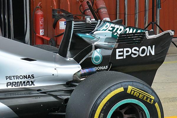 Mercedes W08: la T-wing adesso ha un doppio profilo