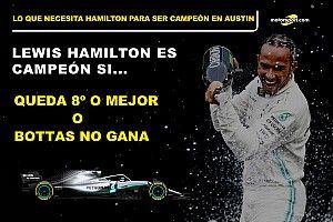 Las cuentas de Hamilton para ser campeón en Austin, sencillas