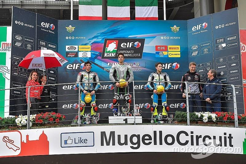 CIV Moto3, Zannoni vince Gara 1, sul bagnato trionfa Spinelli
