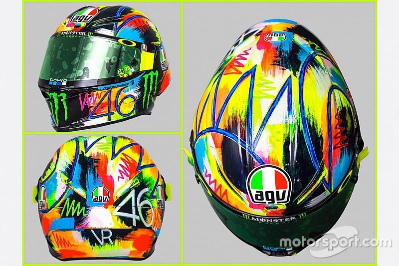 """Ecco il casco """"artistico"""" di Valentino Rossi per i test invernali della MotoGP"""