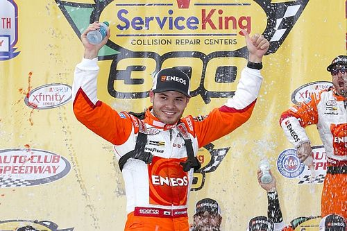 Larson takes Fontana Xfinity win after thrilling battle
