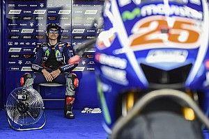 P1 Viñales in warm-up GP Argentinië, crash Abraham
