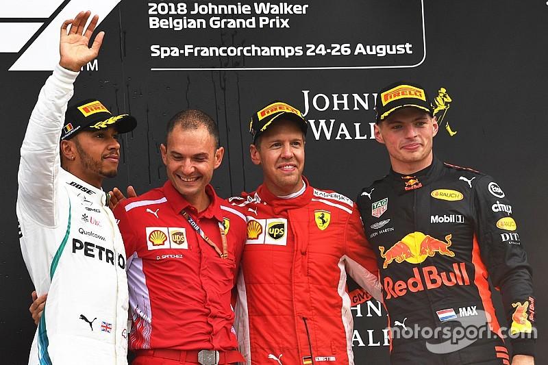 比利时大奖赛:维特尔超越汉密尔顿制胜,一号弯连环事故致六车退赛