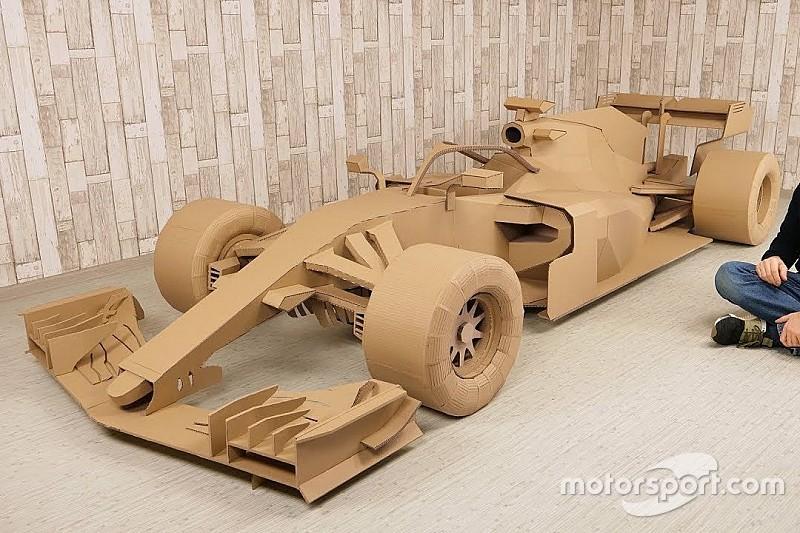 Video: Knutselaar maakt Formule 1-wagen uit karton